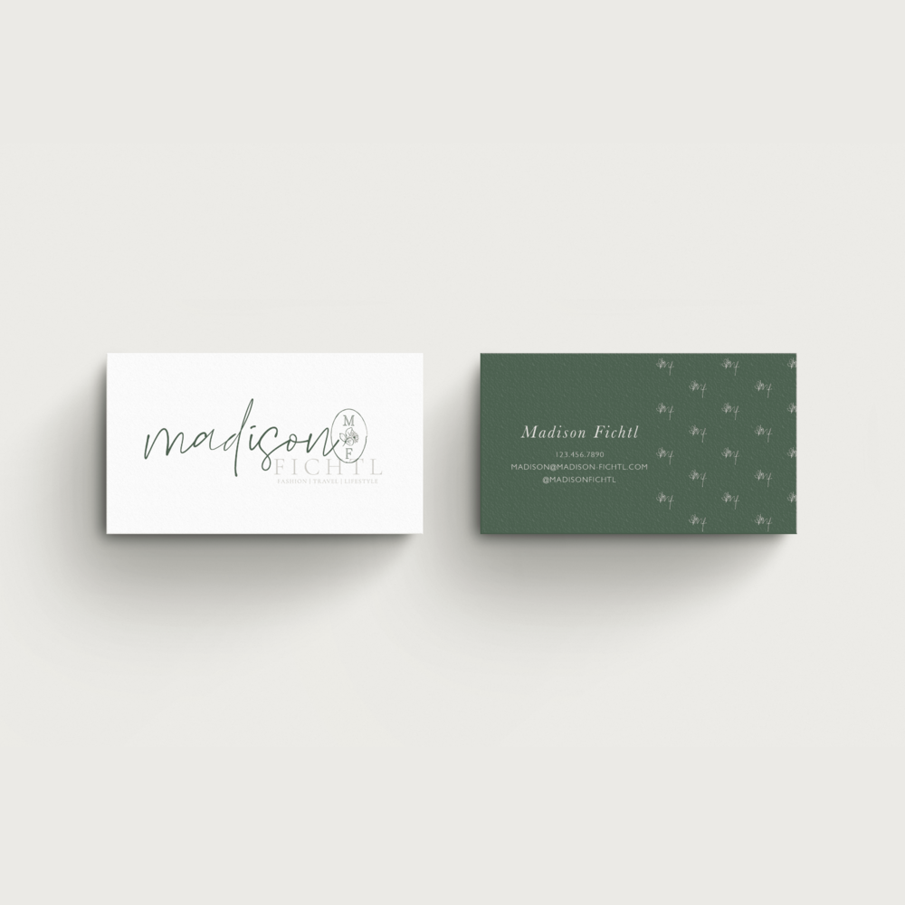 Madison Fichtl Fashion and Lifestyle Blogger Des Moines Iowa: Business Card Design by Kindly by Kelsea