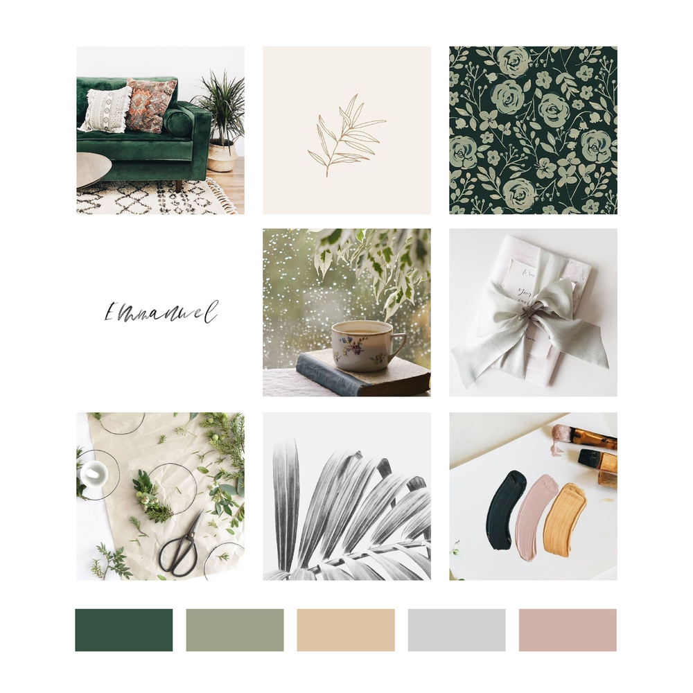 Grace and Ollie Mood Board and Logo Design by Kindly by Kelsea