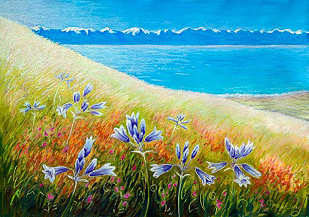 "Flowers above the Straits   Pastel  15"" x 21"""