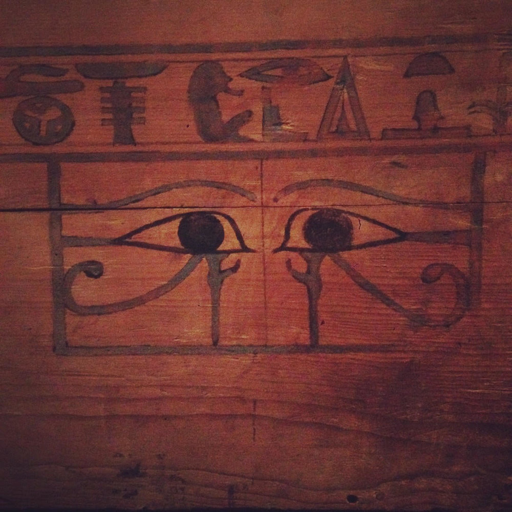 "Magical eyes on a sarcophagus of a princess nicknamed ""Kitty"" (so she could see the priests leaving her offerings). An exhibit at the Freer Sackler Gallery a week before I was attuned for the first time, called ""Divine Felines""."