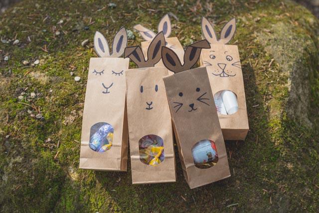 Die noch schnell gebastelten Ostertüten