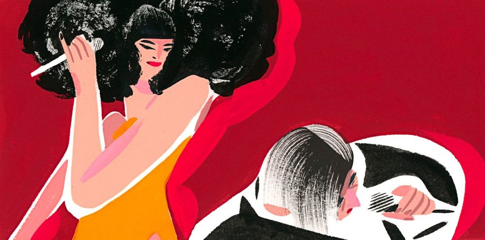 "Meow Meow and Barry Humphries bring ""Barry Humphries' Weimar Cabaret"" to Tanglewood.  Illustration by Ping Zhu for  The New Yorker"