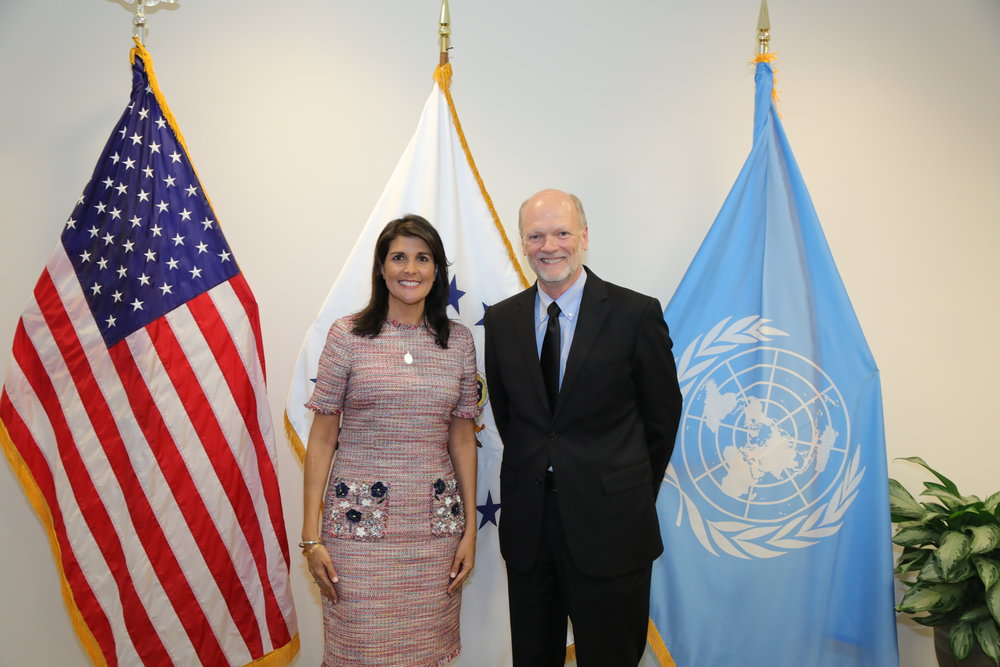 5.3.18 - United States Ambassador to the United Nations, Nikki Haley, welcomes Ken Isaacs to the US Mission to the UN.