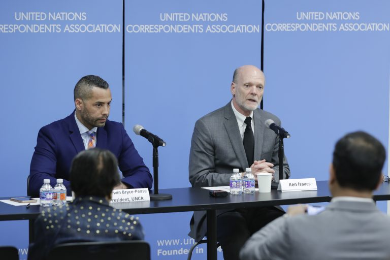 5.4.18 - Ken Isaacs speaks to the United Nations Correspondents Association in New York.
