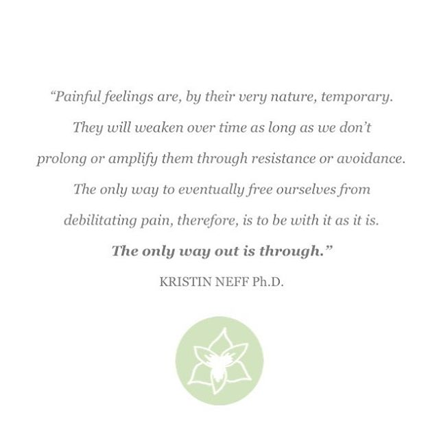 "Wishing we could skip Wednesdays, but like everything else hard and painful in life, ""the only way out is through."" So bring it on, Wednesday! . . Quote from one of my favorite books: Self Compassion by Kristin Neff, Ph.D."