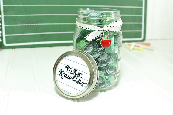Teacher Journey Jar - Loaded with verses and a teacher's prayer, this would be a great gift for a teacher of a Christian ciriculum.                  Created by ManySparrowsBoutique