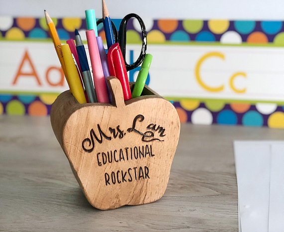 Personalized Pencil     Holder - How cute is this awesome Pencil Holder? Personalize it for the education rockstar in your little human's life!                   Created by FIREArtbyKatrin