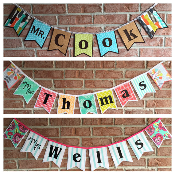 Teacher Name Banner - Give your little human's favorite teacher a start for next year with a customized name banner just for their classroom! Created by SugarOwlDesign