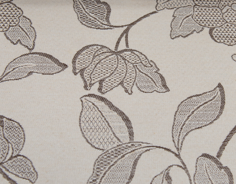"PACIFIC  BEIGE FLORAL  60%COTTON / 40% POLY  108"" WIDE   WASHABLE  TABLECLOTH, SLIPCOVER,CURTAIN  MADE IN ITALY          PRICE-   WAS $24    NOW  $8.50 PER YARD."