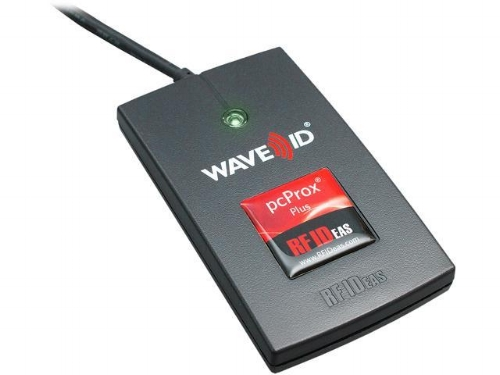 Step 1: plug the scanner (above) into computer USB port. Step 2: Click on the RFID* field and scan badge. The token number will automatically populate.