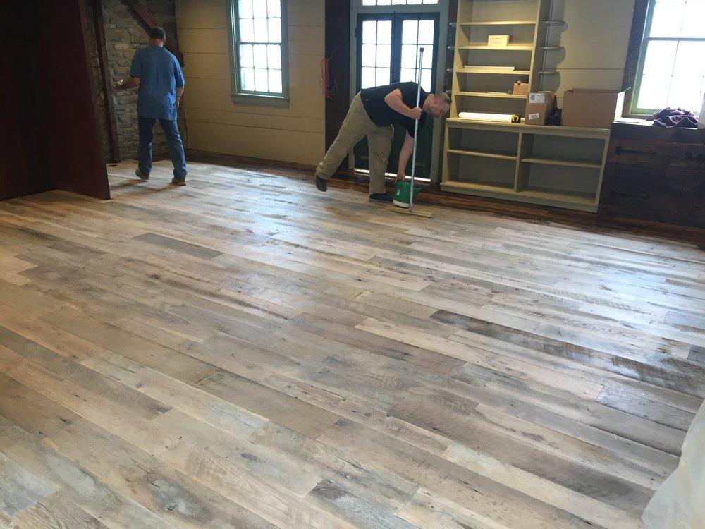 terri feralio - custom wood floor before stain.JPG