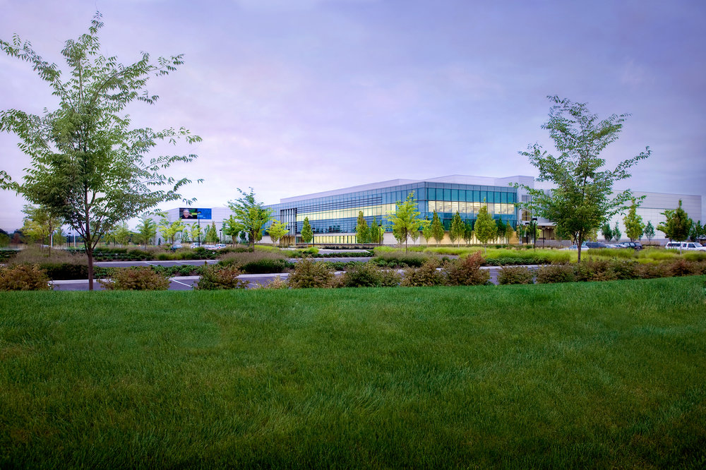 Corporate office building and landscape in North Hillsboro