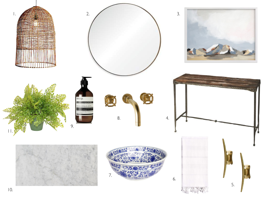1. One King's Lane // Cordial Large Pendant  2. Bed Bath & Beyond // Ren-Wil Round Mirror  3. Minted // Sundown in the Chisos  4. Joss & Main // Greaves Acacia Table  5. Anthropologie // Brass Streamline Hook  6. Gilt // White Pestemal Towel  7. Wayfair // Blue and White Decorative Bowl  8. Rejuvenation // Tolson Wall Mount Faucet  9. Aesop // Hand Soap  10. Joss & Main // Marble Tile  11. One King's Lane // Faux Fern Plant
