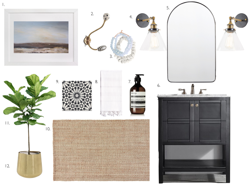 1. Minted // Llanno Winds Print  2. Anthropologie// Black and White Wall Hook  3. One Kings Lane // Vintage African Beads  4. AHA Life // Cruz Sconce  5. Rejuvination // Arched Mirror in Black  6. Wayfair // Beachcrest Caldwell Vanity in Black 7. Net-A-Porter // Aesop Hand Soap  8. Gilt // Turkish Towel in White  9. Wayfair // Agdal Cement Tile  10. Gilt // Tobago Jute Rug 11. Gilt // Tulum Large Pot  12. World Market // Faux Fiddle Leaf Tree