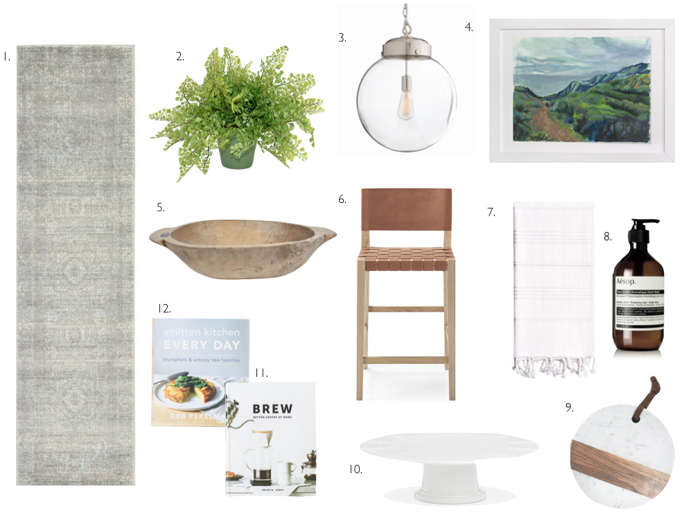 """1. Wayfair // Bungalow Rose Aggie Creek Rug Runner  2. One Kings Lane // 14"""" Mini Faux Fern  3. The Well Appointed House // Polished Nickel Glass Orb Pendant  4. Minted // Malibu Hike Art Print  5. One Kings Lane // Vintage Dutch Pine Dough Bowl  6. Serena & Lily // Colins Counter Stool  7. Gilt // Linum Home Textiles Pestemal Towel  8. Aesop // Hand Wash  9. One Kings Lane // Acacia Round Marble & Wood Board  10. Lenox // Sculpture White Cake Holder  11. Cost Plus World Market // Brew Cook Book  12. Sur La Table // Smitten Kitchen Every Day Cook Book"""
