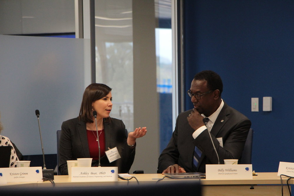 Photo caption, from left to right: Ashley Bear, Senior Program Officer, National Academies of Sciences, Engineering, and Medicine; Billy Williams, Vice President, Ethics, Diversity, and Inclusion, American Geophysical Union