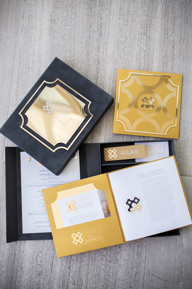 Inner Circle Experience  \\ This sweet suite. Especially love the gold on gold on gold. Really enjoyed creating the event packages for the inaugural Inner Circle Experience and being given full creative carte blanche.