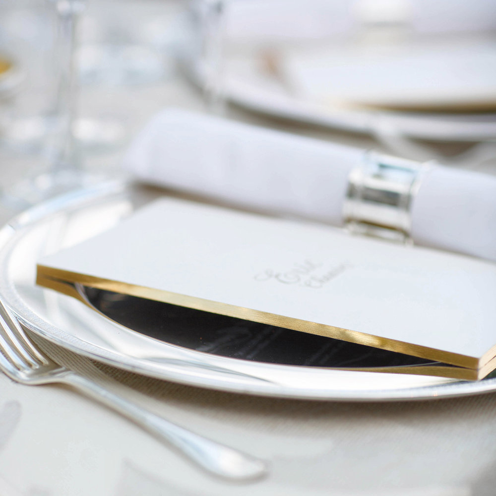 Sallee  \\ Living on the edge. Quarter inch thick gilded menus for a destination wedding in Instanbul.