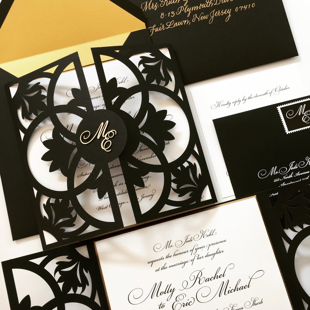 Molly & Eric  \\ Gold and black is just so good together. Topped off with a little Chroma monogram.