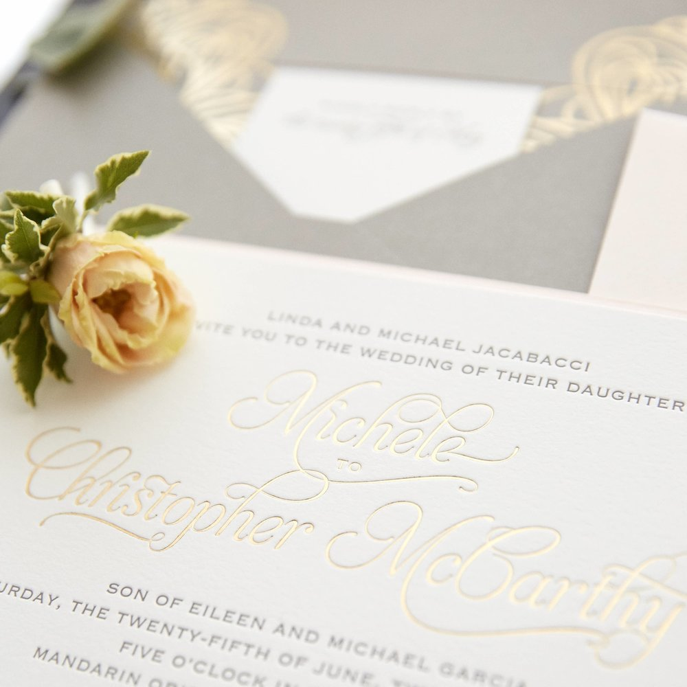Michele & Christopher  \\ When summer meets romance meets New York City. Letterpress invitation + Chroma skyline + foiled envelope = oh my!