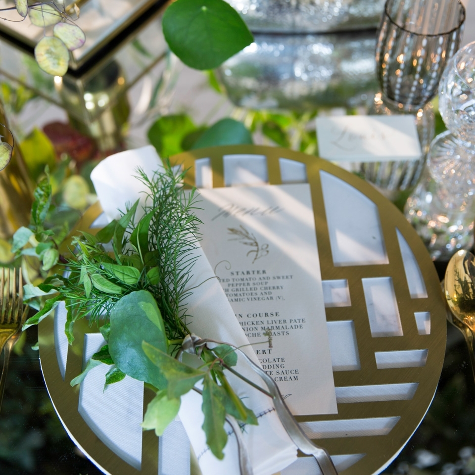 Nexus Chroma Placemat  \\ Styled by Lamp Productions for The Wedding Gallery, Photo by Lucy Tanner Photography