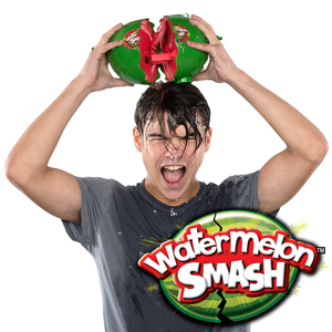 Watermelon Smash   Take a chance on Watermelon Smash but don't be the one to get splashed.  A suspenseful game in which you never know when the watermelon will fully crack open. If it cracks on your turn, you either get covered with water (outdoor version) or plastic watermelon seeds (indoor version) and you are out of the game.  Be the last player to get 'splashed' to win!  #WatermelonSmashChallenge!