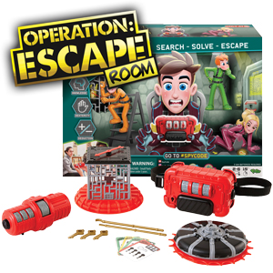 Operation Escape   Bring the excitement of Escape Room Challenges into your home with Spy Code Operation Escape Room from Yulu Toys. This interactive game tests your spy skills by challenging a team to work together to complete 3 exciting tasks in order to set the captured player free from the master belt before time runs out. The game play includes tests of skill, strategy and luck and offers different levels of difficulty so that kids and adults can play over and over.