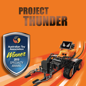 Project Thunder   Programming educational robot kit. 14 in 1 Robot Construction Kit. Step by step instructions for at least 14 robots. Easy to use App to control your robot. Blockly-based programming with STEM curriculums.