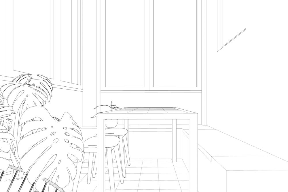 Line rendering of sunroom of Penha da França Apartment project by Lola Cwikowski Studio