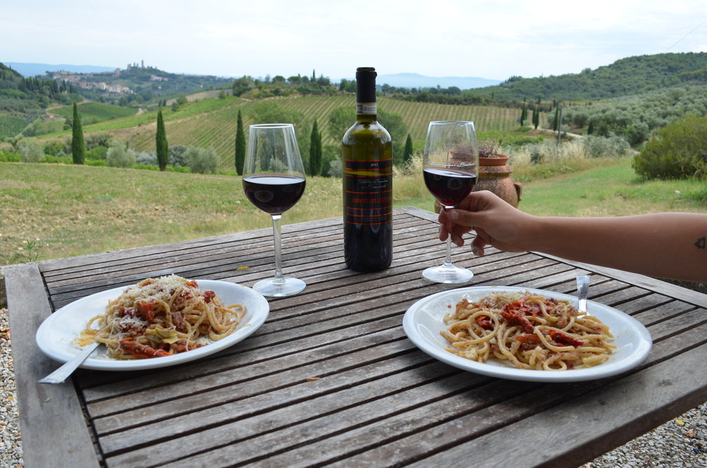 A stunning view from our AirBNB.San Gimignano in the background, perfectly framed between rolling hills. Jon made dinner one night and we sat here forever just looking out and enjoying the amazing wine that came from the land we were staying on.