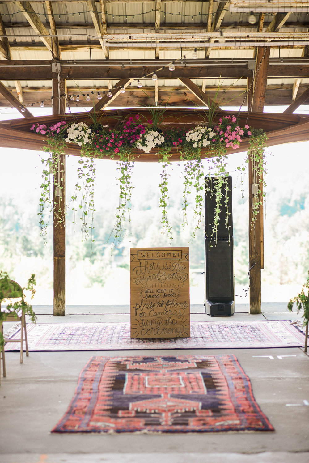A vendor of mine was kind enough to let me borrow these beautiful rugs for the ceremony. They made the whole space!