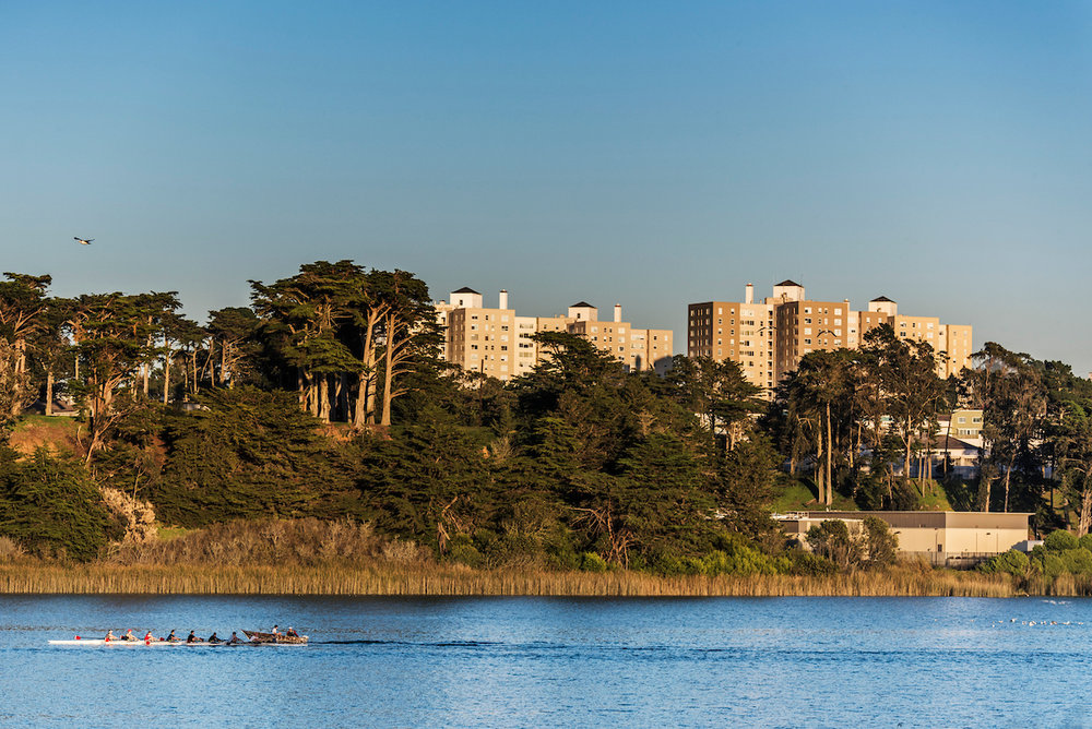 LAKE MERCED   Bordering Parkmerced, Lake Merced is a haven for freshwater fishing, picnics, paddling, and much more.