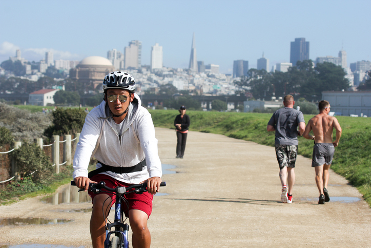 San Francisco is the second most walkable large city in the US and despite the hills, it's very bikeable. To keep your bikes safe, we have five racks in the Higuera garage, and a bike room in every tower.   SFMTA bicycling and walking info, maps, tips ➝