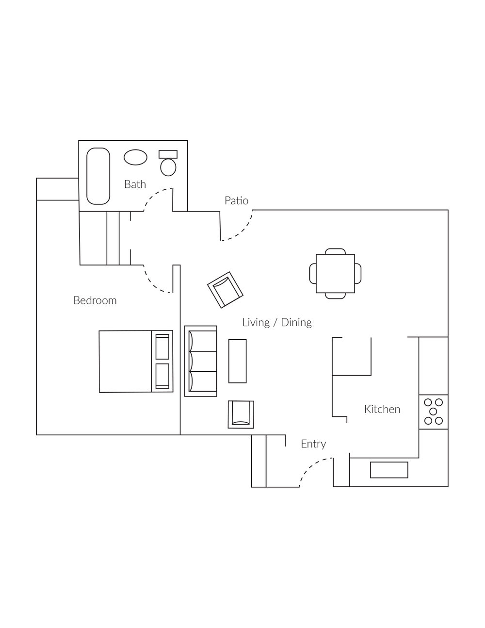 1 bedroom, 1 bathroom townhome