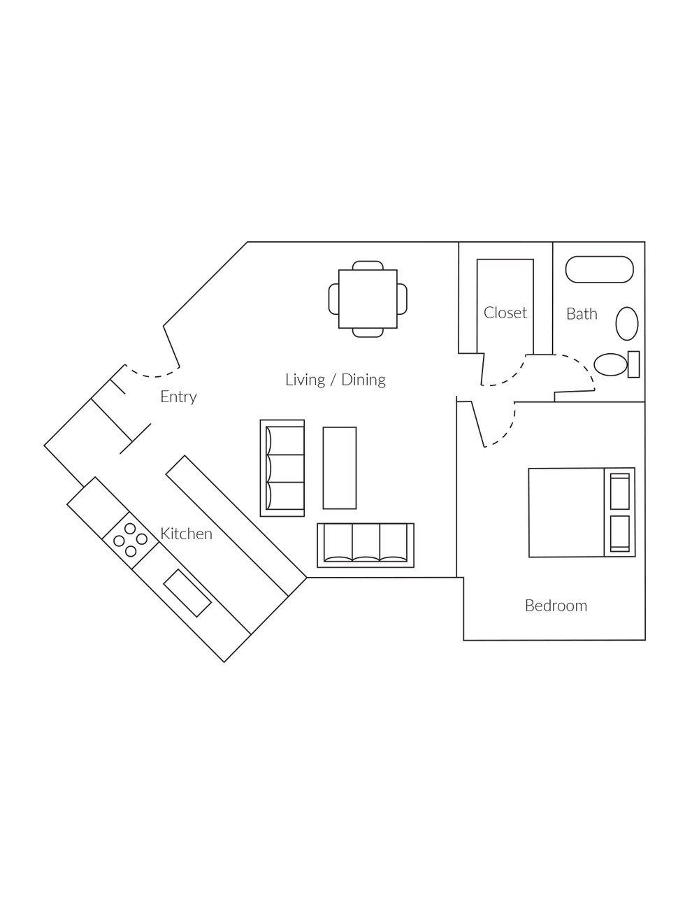 1 bedroom, 1 bathroom apartment