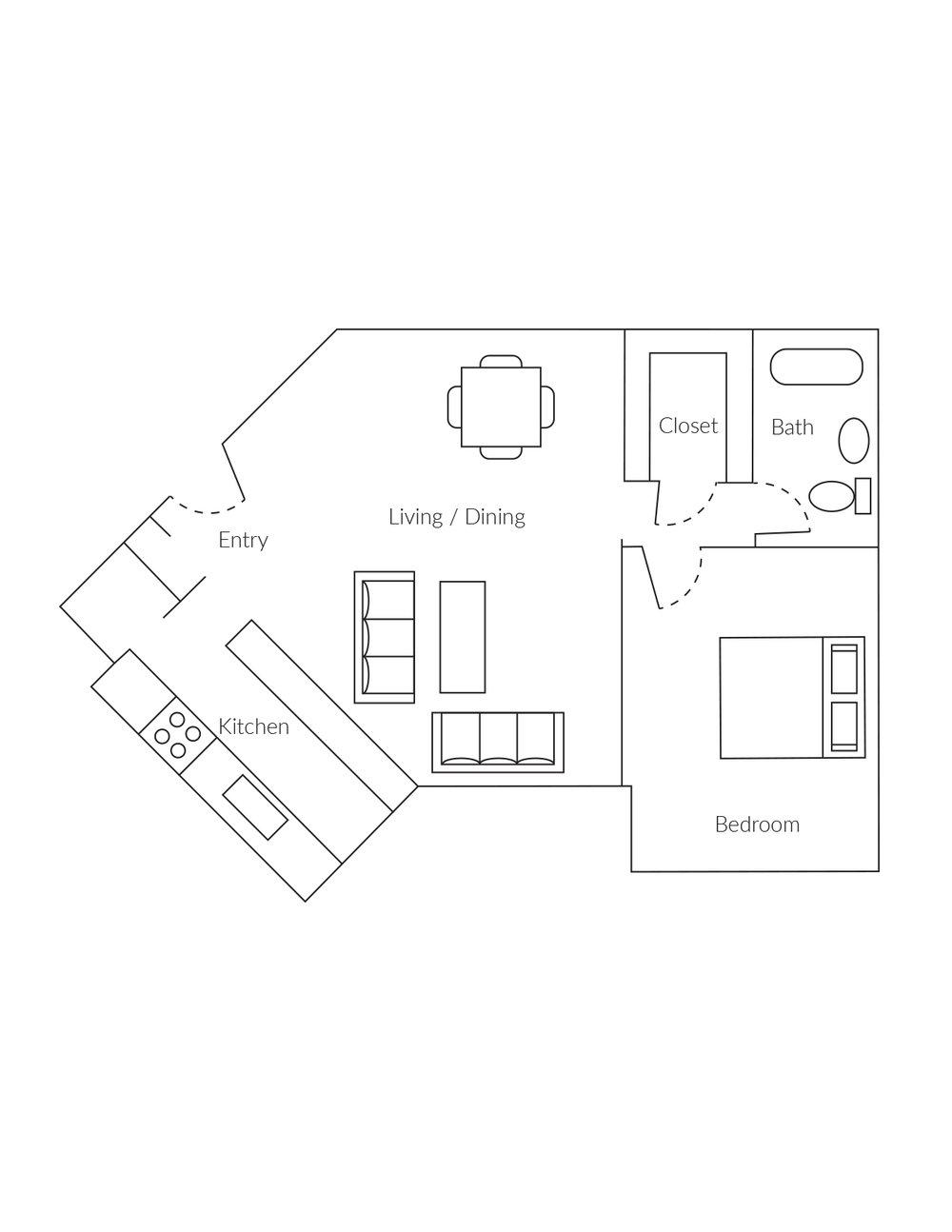 1 bedroom, 1 bathroom apartment