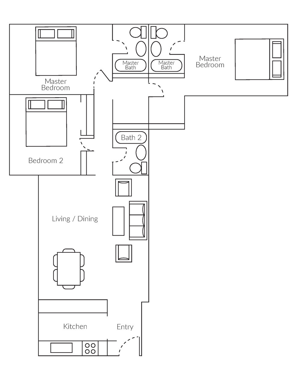 3 bedroom, 3 bathrom high-rise apartment