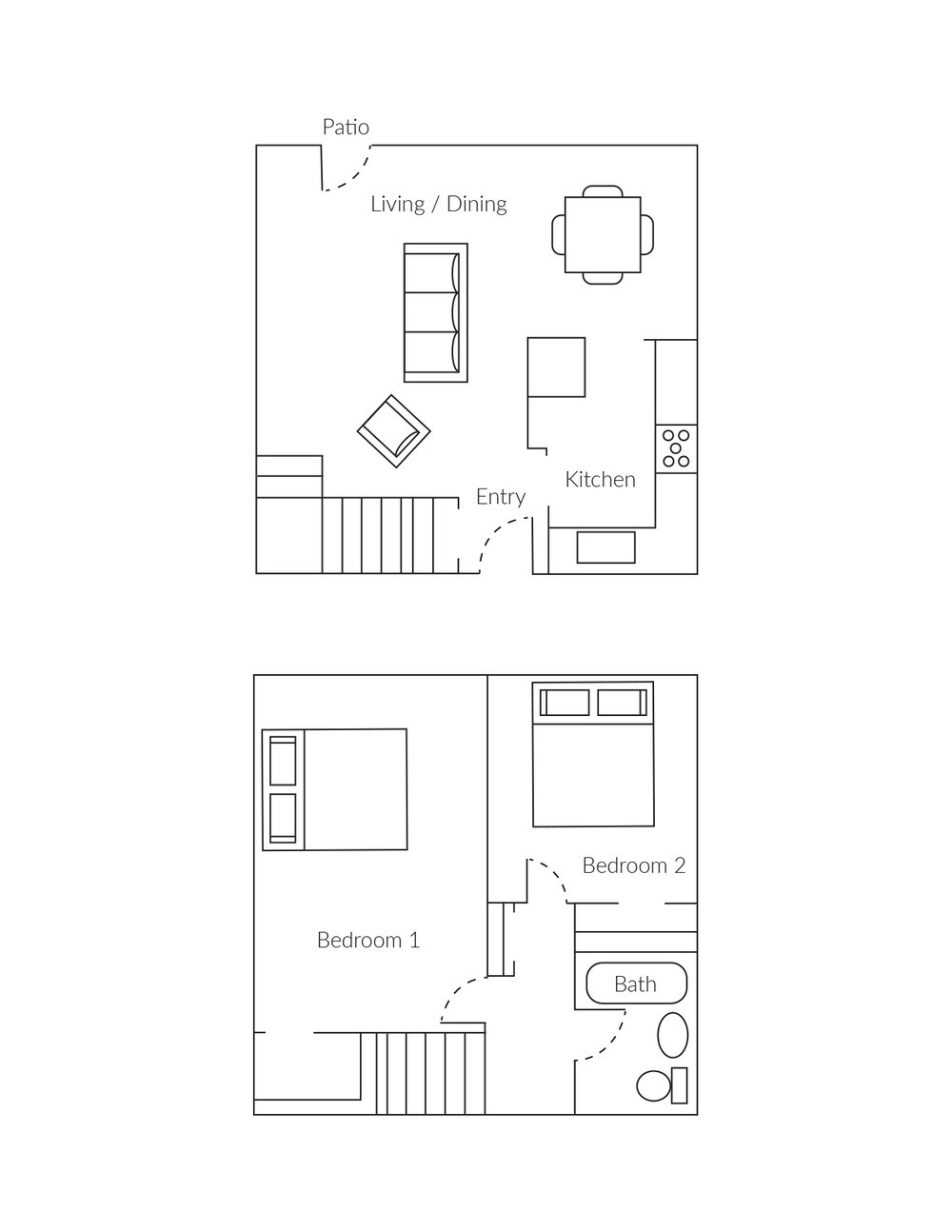 2 Bedroom Townhomes: Large Studio, 1, 2, 3 BR Apts With SF Views