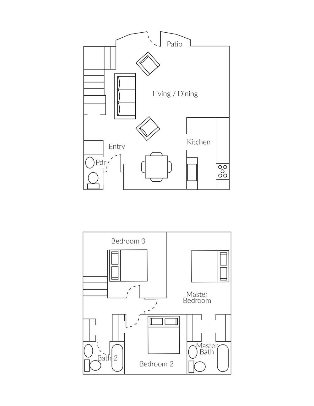 Parkmerced 3 BR Townhome Floorplan