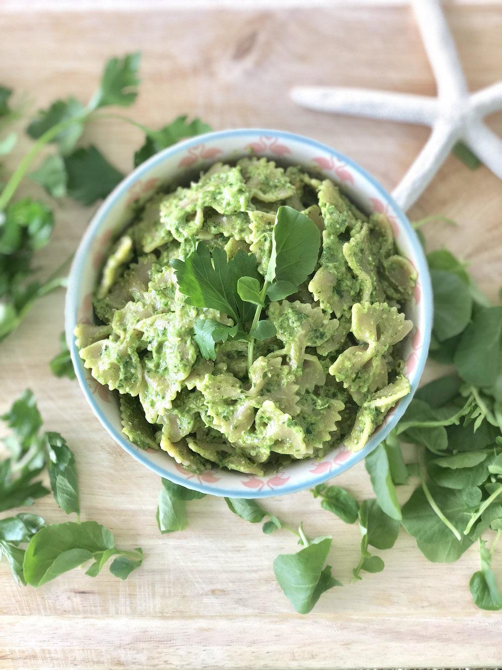 Parsley + Watercress Avocado Pesto -