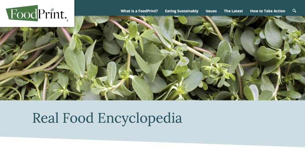 Food Print's Real Food Encyclopedia