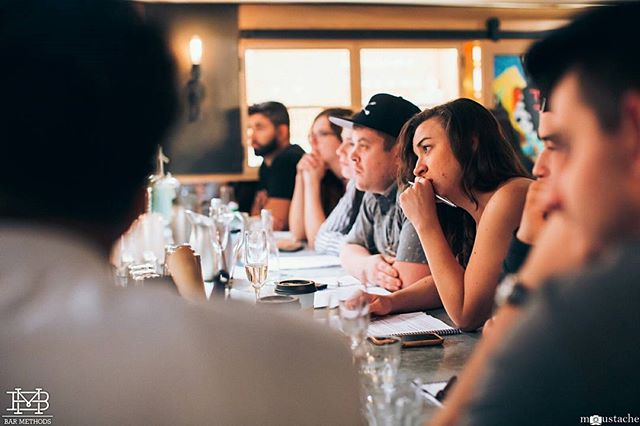 "Bartenders from all over the country learning about ""The Dance"" behind a bar. How to move, interact and set up for a successful shift. #barmethods #education #cocktails #nyc #mixology #hospitality  photo cred @iammoustache"