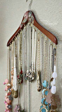 For as simple as this one is, making one with by screwing in hooks can be a bit tedious, but you can also loop your necklaces around a regular hanger, just be careful that they don't still get tangled.