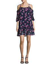 - HIGHLINE COLLECTIVE Floral Cold-Shoulder Ruffled Top $41.70