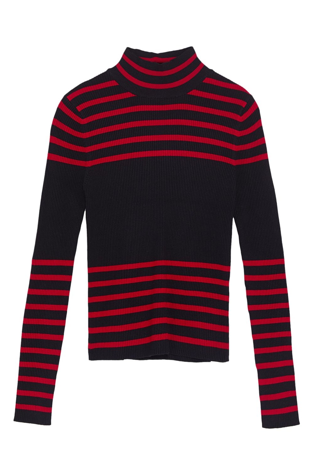 - Knit sweater with high collar and long sleeves. Contrasting stripes. $35