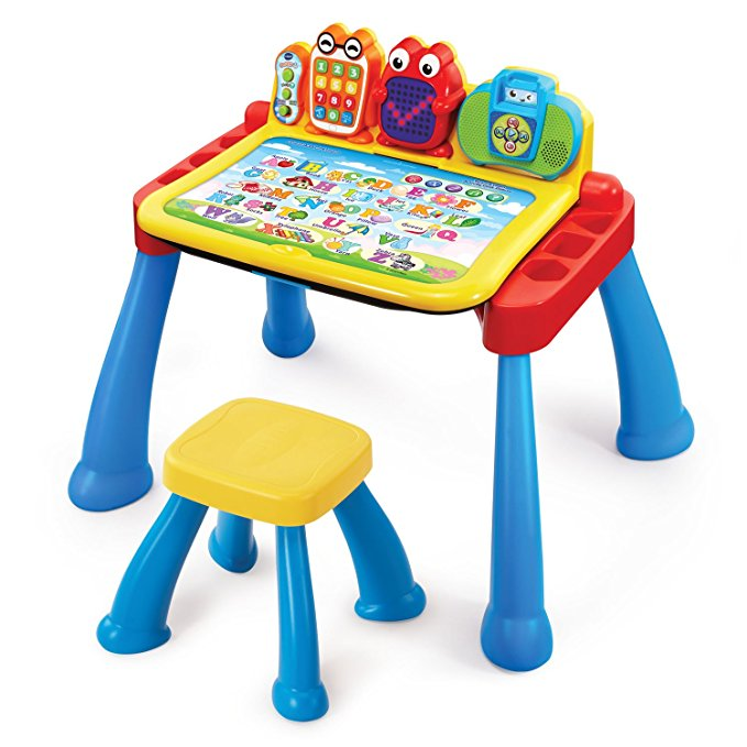 - VTech Touch & Learn Activity Desk Deluxe $59We set this up for Ethan recently and he's been obsessed with it. He might be a bit to young to understand some of the requests but overall a great developmental toy!