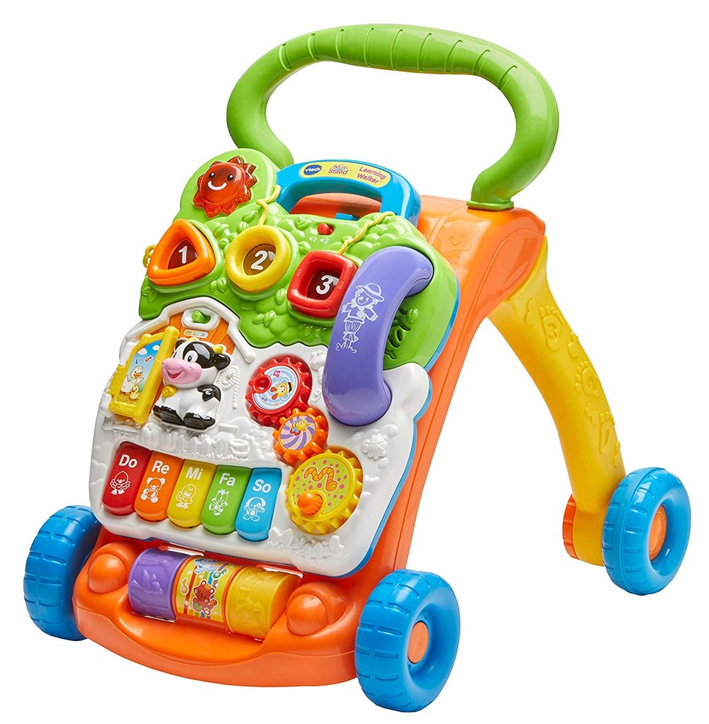 - VTech Sit-to-Stand Learning Walker $45This walker was the best we found and it really helped Ethan learn how to walk. I love that it's so bright and has lots of buttons!