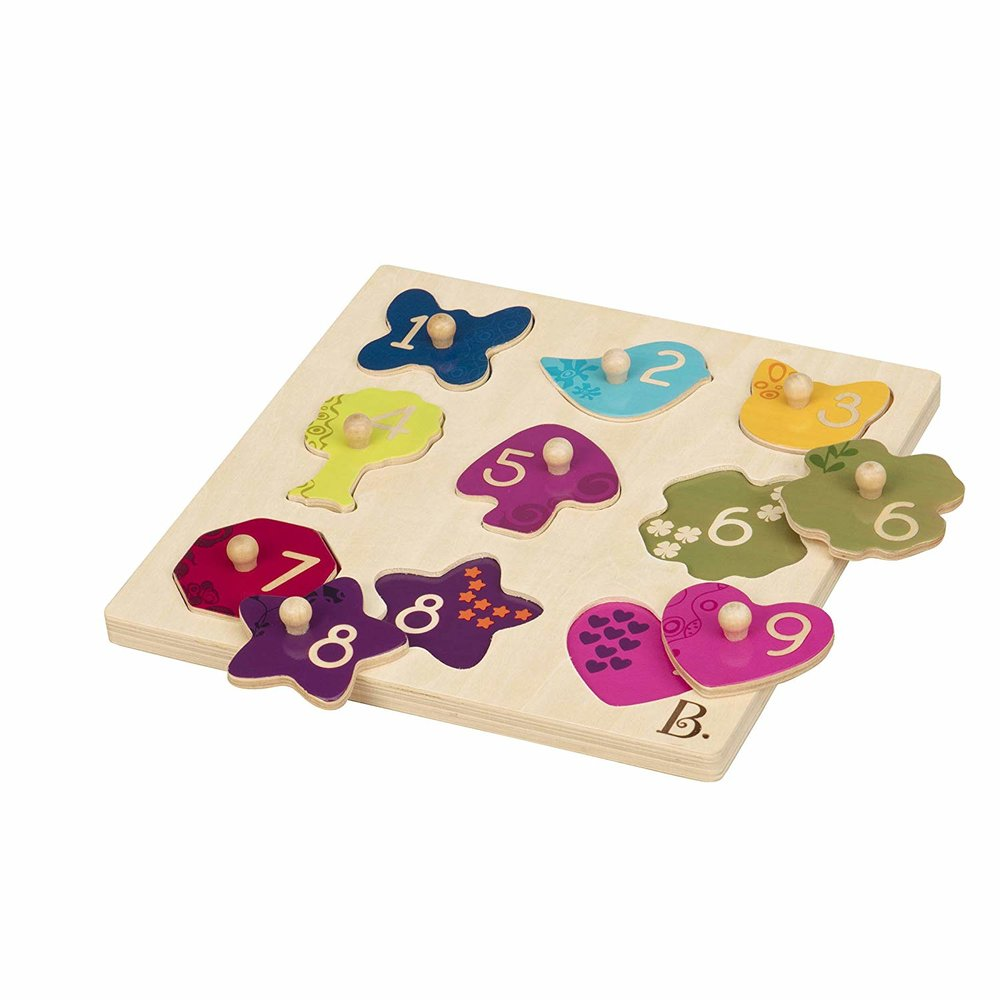 - B. Toys – B's Eye View Peg Puzzle Dexterity Toy – Classic Wooden Puzzles $15.00This was also a gift from B. Toys and I love that it incorporates shapes and numbers!