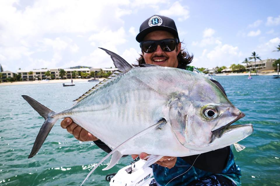 James Holt with the biggest Cale Cale we seen get pulled from our waters all year. It was caught in the Noosa River while testing his Holt Productions SwimPrawn prototype. The fish was released safely.