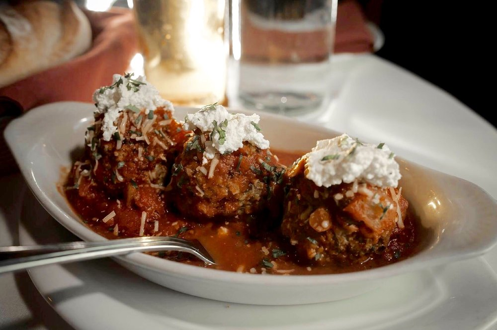 3 traditional Sicilian meatballs; an appetizer available for lunch, dinner, catering, and parties.